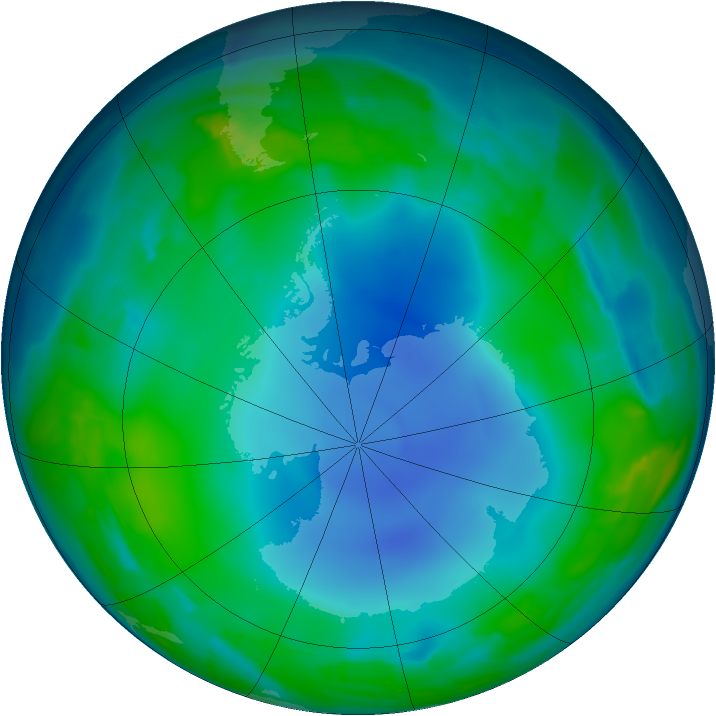 Antarctic ozone map for 17 June 2013
