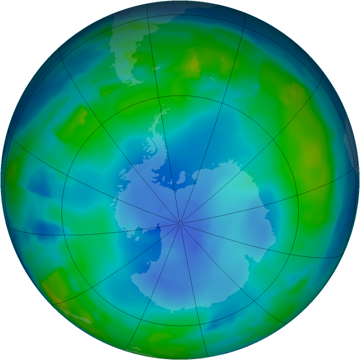 Antarctic ozone map for 20 June 2013