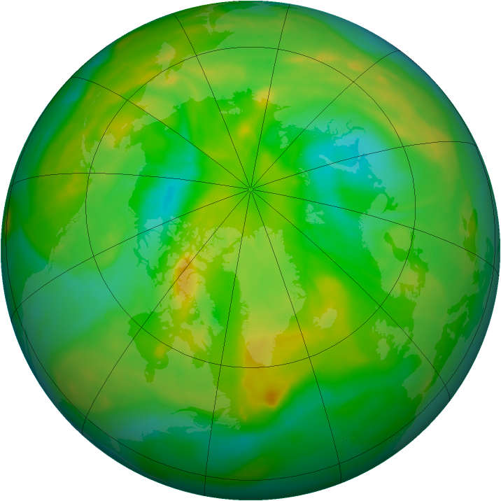 Arctic ozone map for 02 July 2013