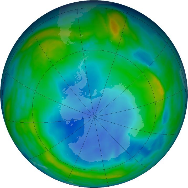 Antarctic ozone map for 02 July 2013
