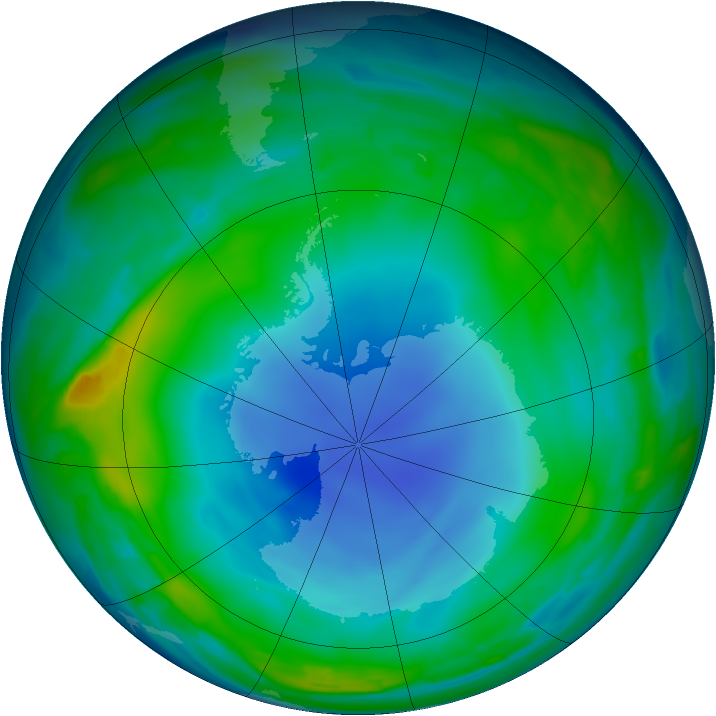 Antarctic ozone map for 05 July 2013