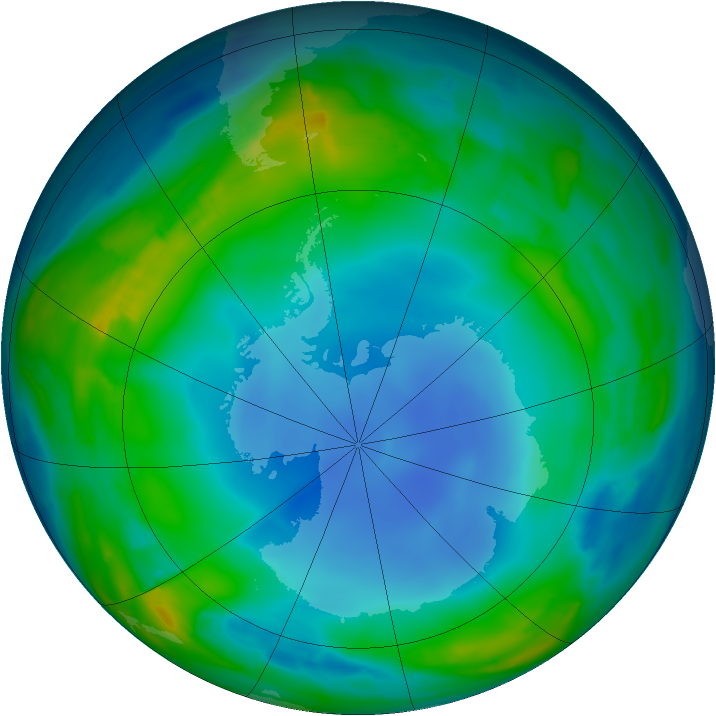 Antarctic ozone map for 14 July 2013
