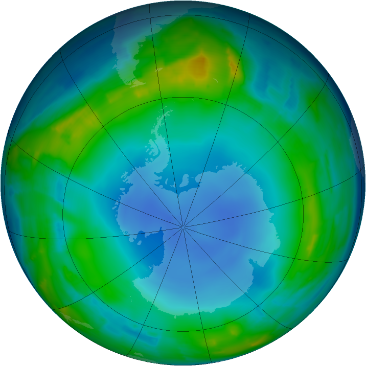 Antarctic ozone map for 15 July 2013