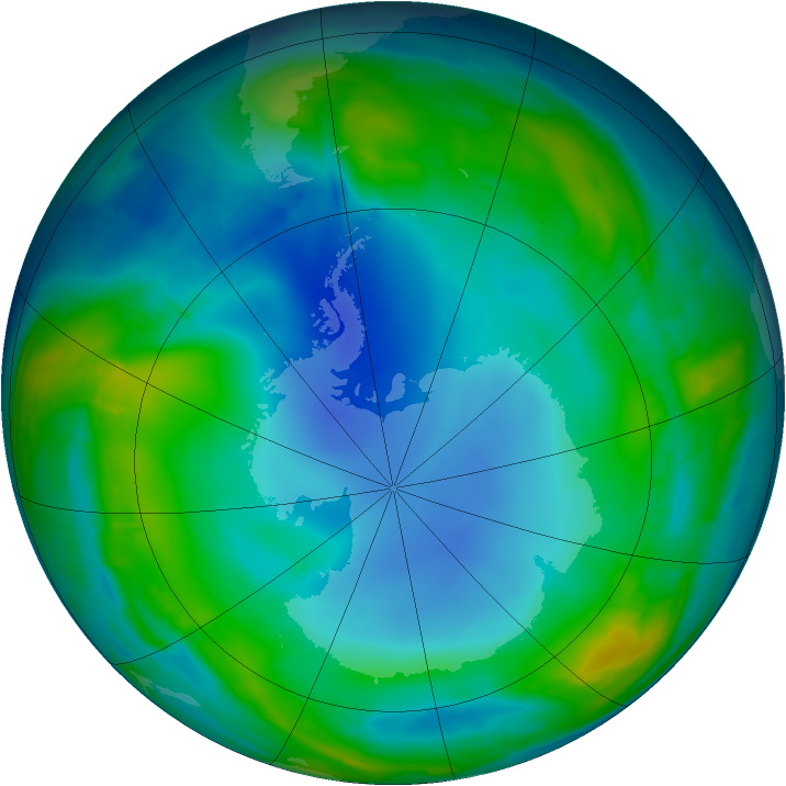 Antarctic ozone map for 20 July 2013