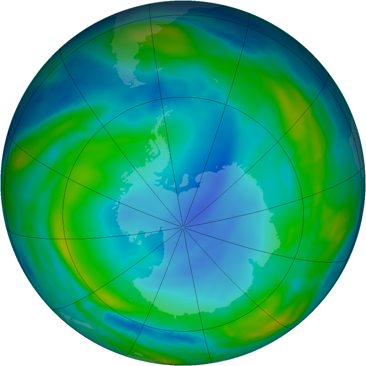 Antarctic ozone map for 21 July 2013