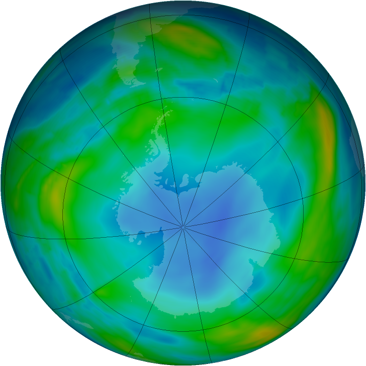 Antarctic ozone map for 22 July 2013