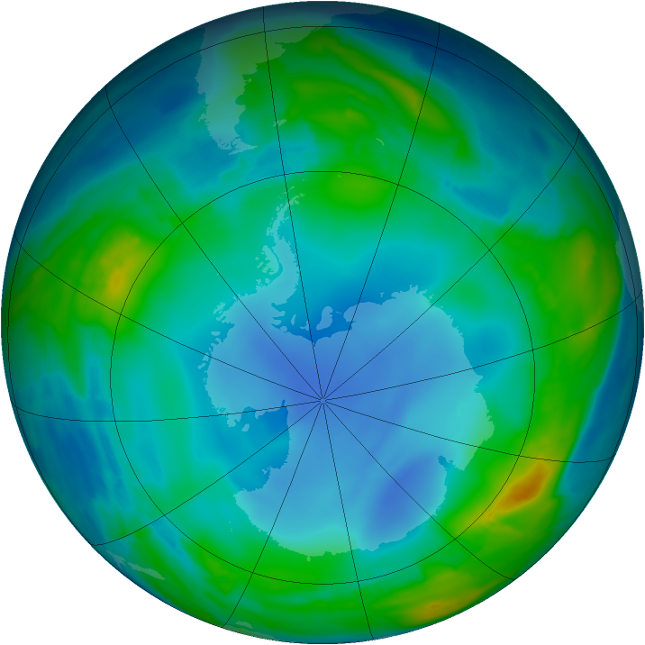 Antarctic ozone map for 23 July 2013