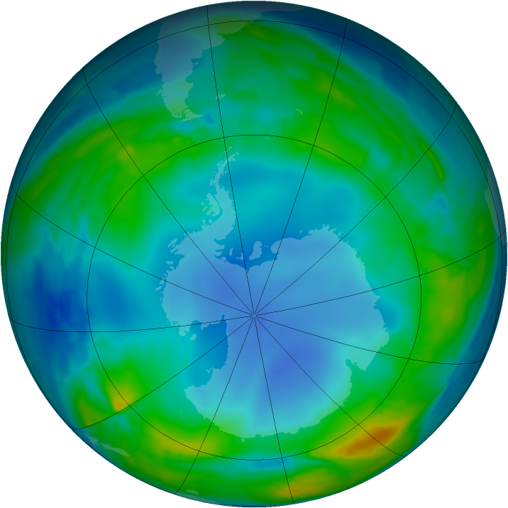 Antarctic ozone map for 24 July 2013