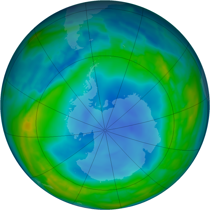 Antarctic ozone map for 27 July 2013