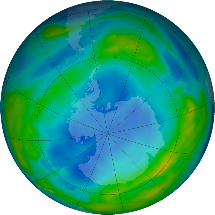 Antarctic ozone map for 29 July 2013