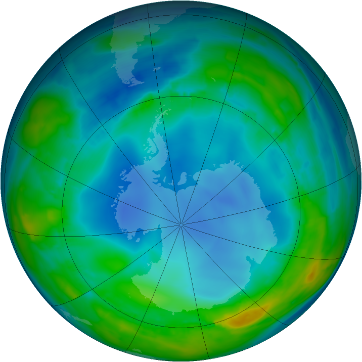 Antarctic ozone map for 31 July 2013