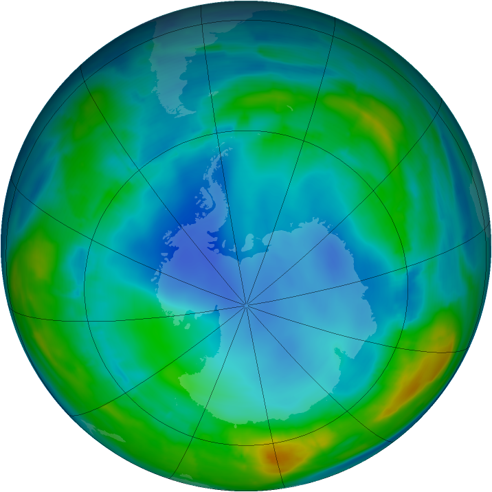 Antarctic ozone map for 01 August 2013
