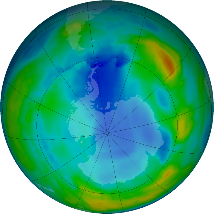 Antarctic ozone map for 03 August 2013