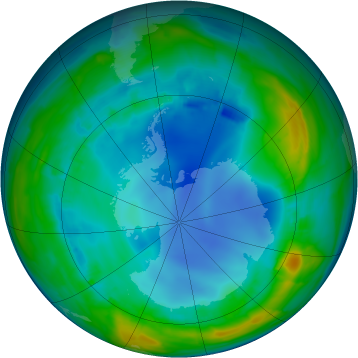 Antarctic ozone map for 04 August 2013