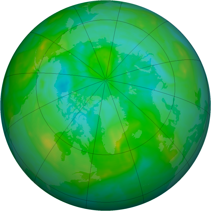 Arctic ozone map for 07 August 2013