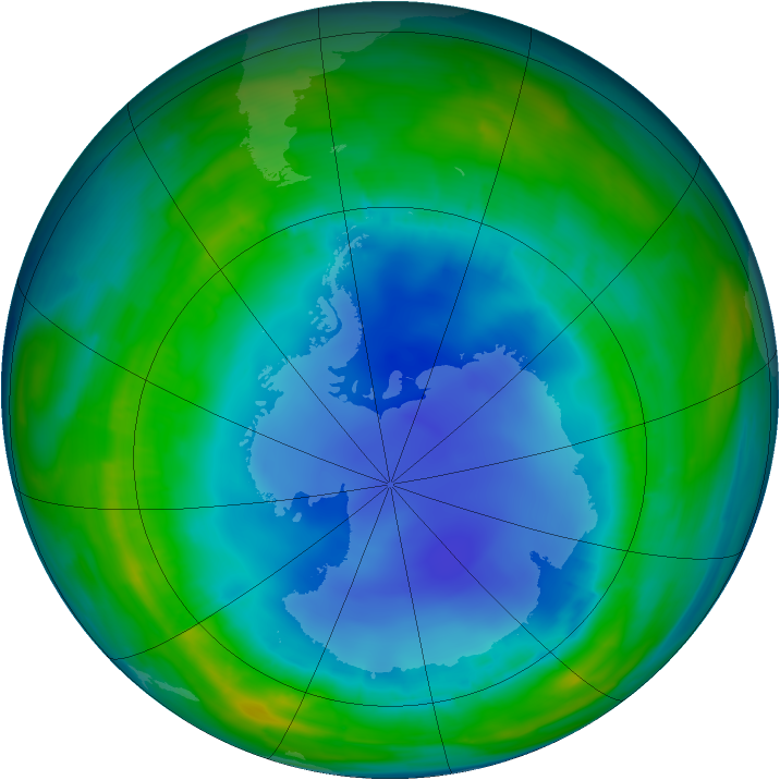 Antarctic ozone map for 07 August 2013