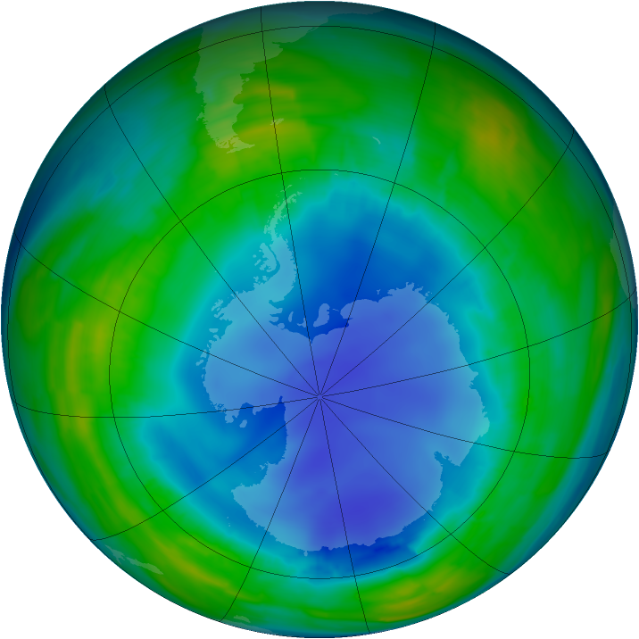 Antarctic ozone map for 08 August 2013