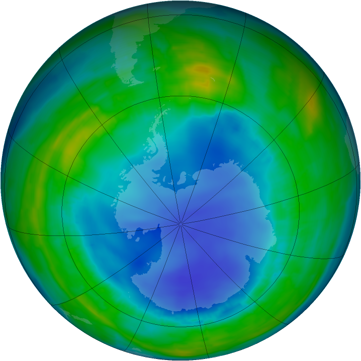 Antarctic ozone map for 09 August 2013