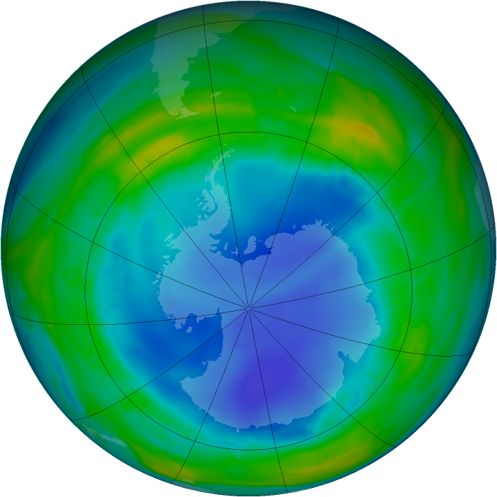 Antarctic ozone map for 10 August 2013