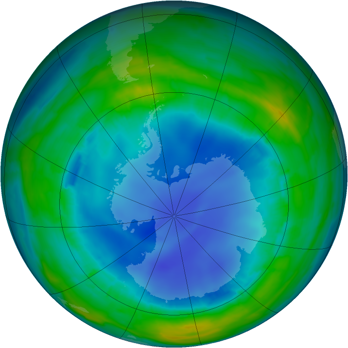 Antarctic ozone map for 11 August 2013