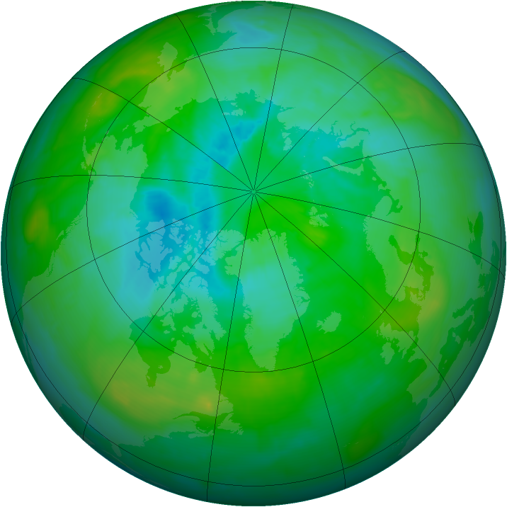 Arctic ozone map for 13 August 2013
