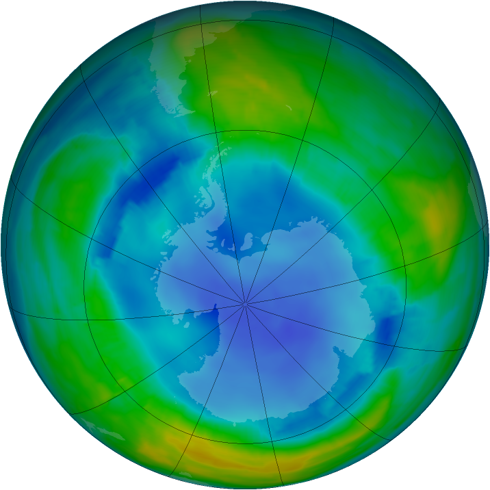 Antarctic ozone map for 13 August 2013