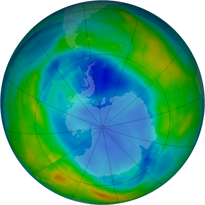 Antarctic ozone map for 15 August 2013
