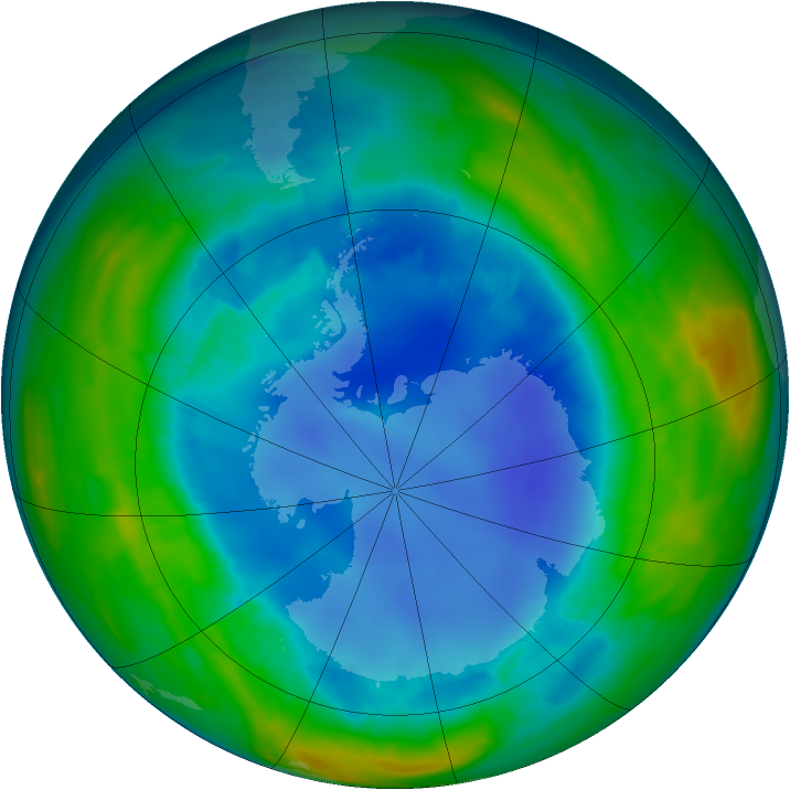 Antarctic ozone map for 17 August 2013