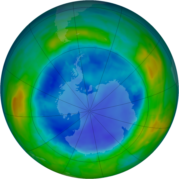 Antarctic ozone map for 20 August 2013