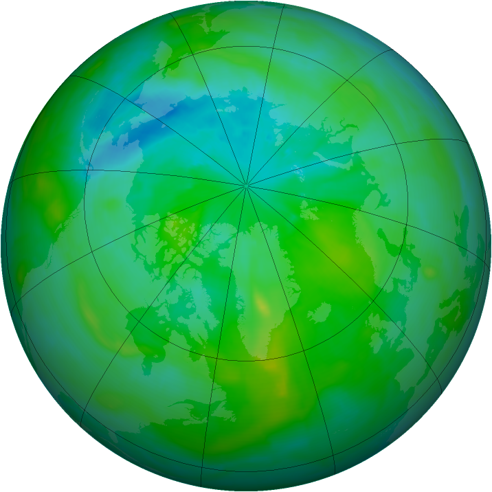 Arctic ozone map for 21 August 2013