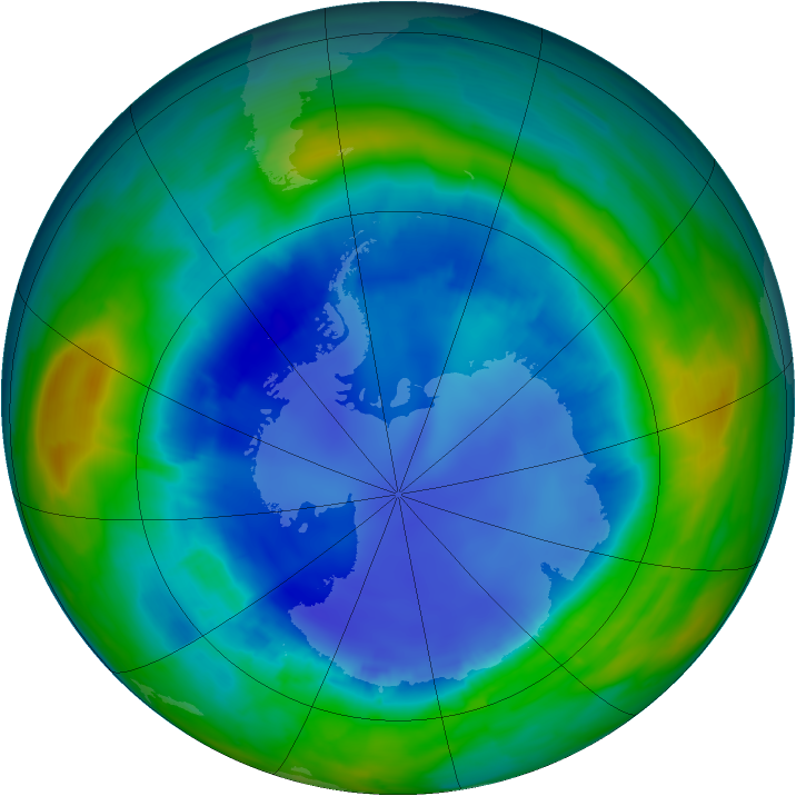 Antarctic ozone map for 21 August 2013