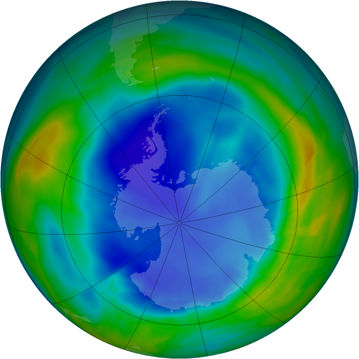 Antarctic ozone map for 22 August 2013