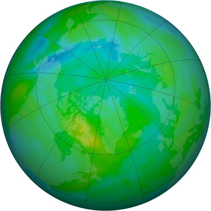 Arctic ozone map for 25 August 2013