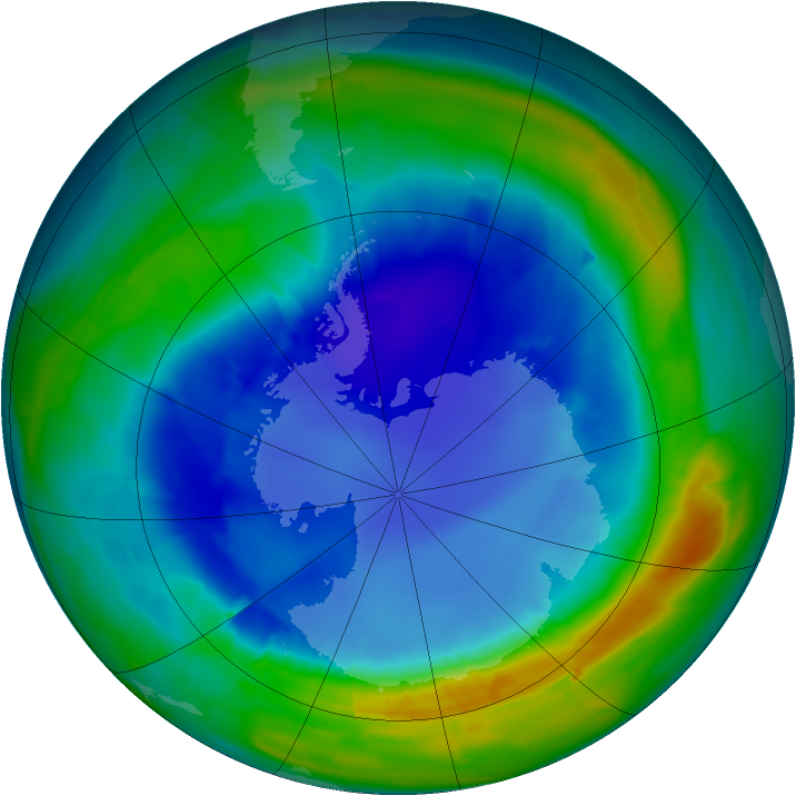 Antarctic ozone map for 25 August 2013