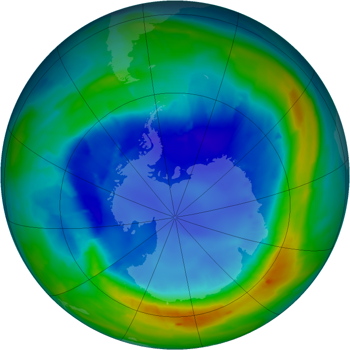 Antarctic ozone map for 26 August 2013