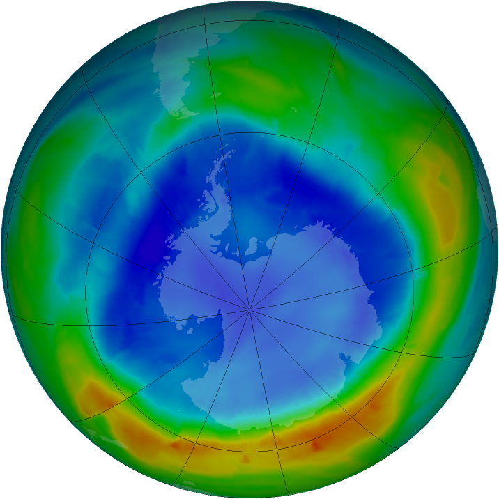Antarctic ozone map for 28 August 2013