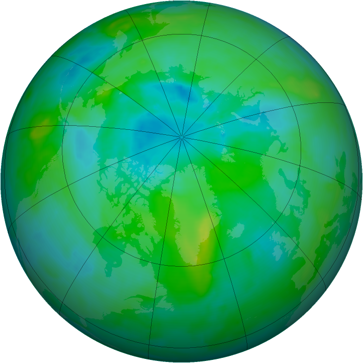 Arctic ozone map for 29 August 2013