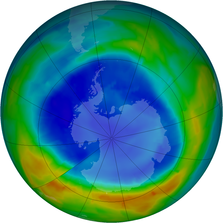 Antarctic ozone map for 29 August 2013