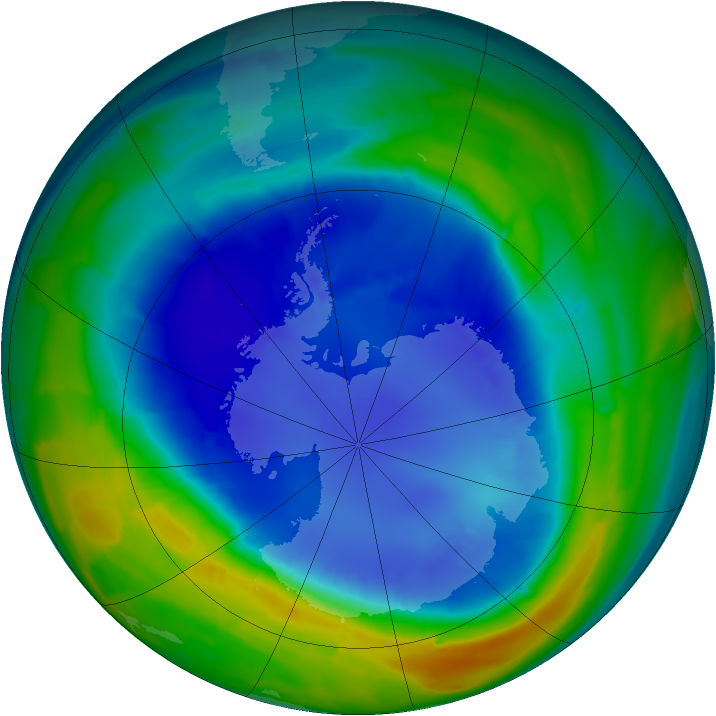 Antarctic ozone map for 30 August 2013