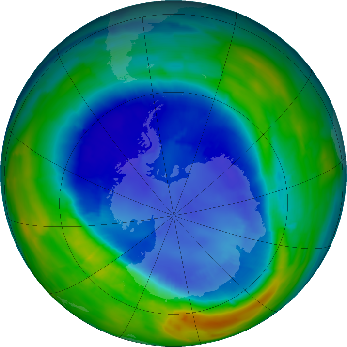 Antarctic ozone map for 31 August 2013