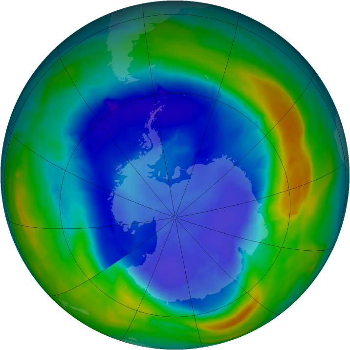 Antarctic ozone map for 03 September 2013