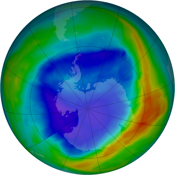 Antarctic ozone map for 06 September 2013