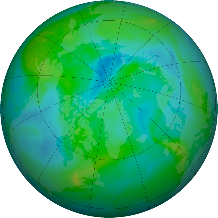 Arctic ozone map for 08 September 2013