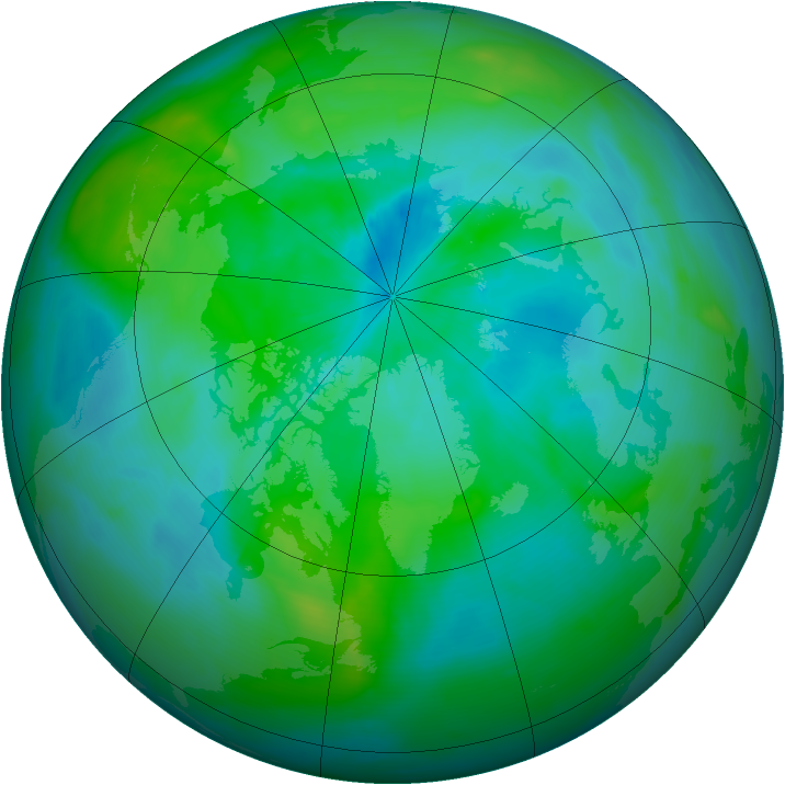 Arctic ozone map for 09 September 2013