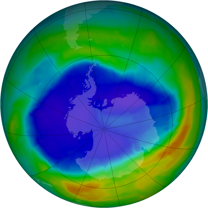 Antarctic ozone map for 10 September 2013