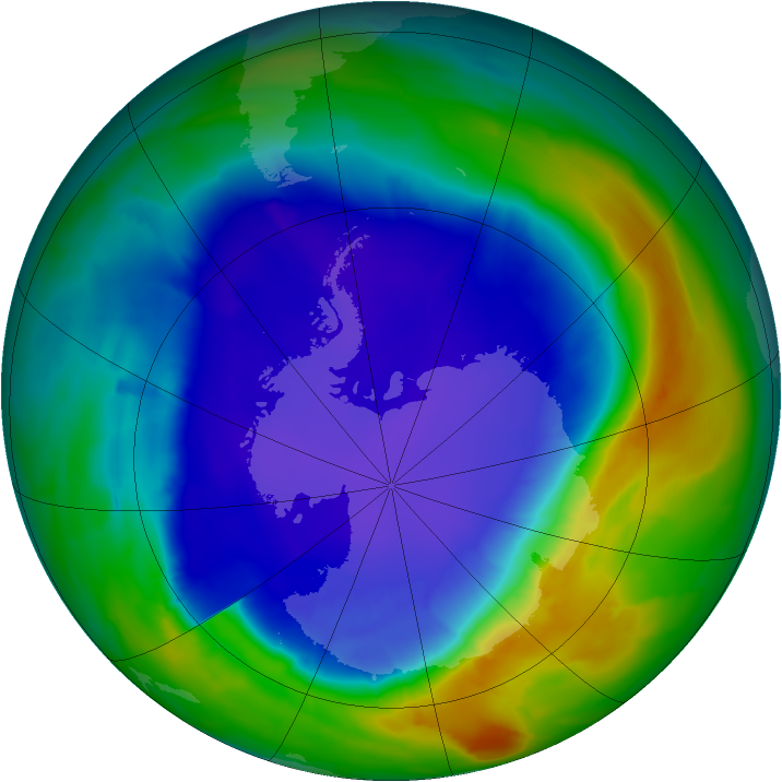 Antarctic ozone map for 16 September 2013