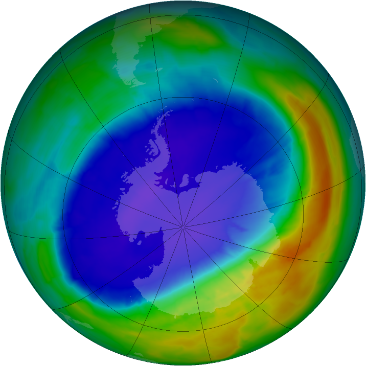 Antarctic ozone map for 18 September 2013