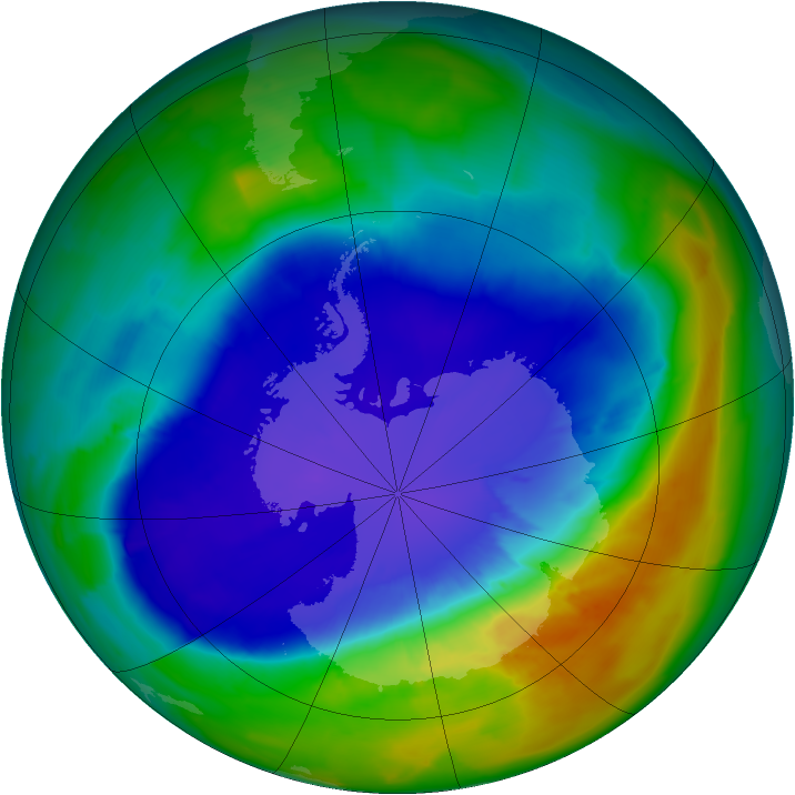Antarctic ozone map for 19 September 2013