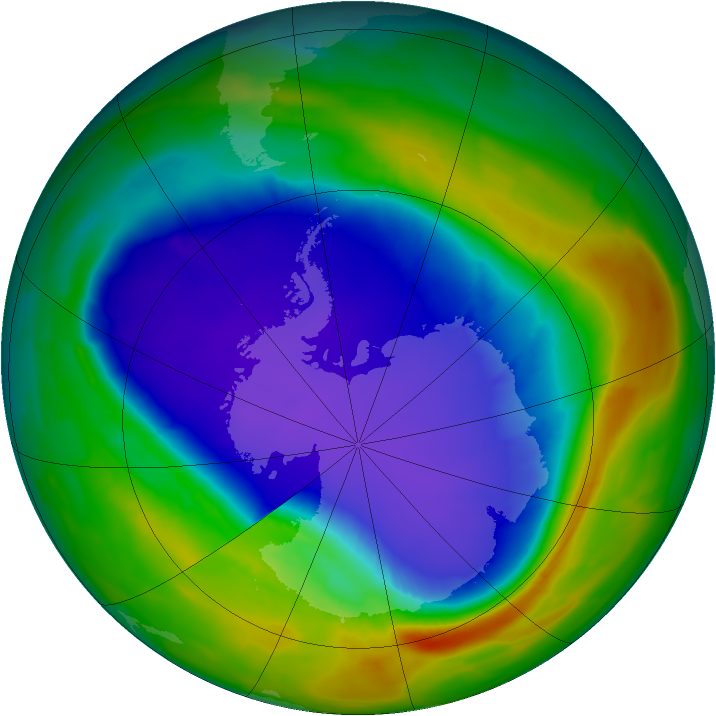 Antarctic ozone map for 27 September 2013