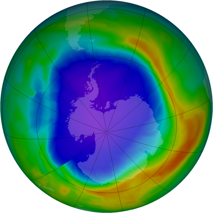 Antarctic ozone map for 29 September 2013
